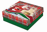 Новогодние подарочные картонные коробки самосборные квадратные 25 см х25 см высота 8 см.