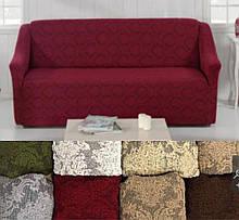 Натяжные универсальные готовые чехлы накидки на трехместные диваны без оборки Еврочехлы Бордовый жаккардовый