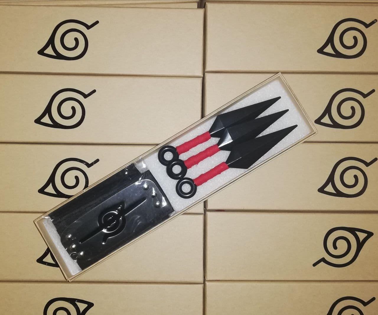Набор аксессуаров Итачи Учиха, 2в1, налобный протектор, 3 красных куная - Naruto Set