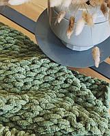 Плюшевий плед із пряжі Alize Puffy зелений