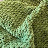Плюшевий плед із пряжі Alize Puffy зелений, фото 5