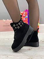 Ботинки женские зимние 8 пар в ящике черного цвета 36-40, фото 4