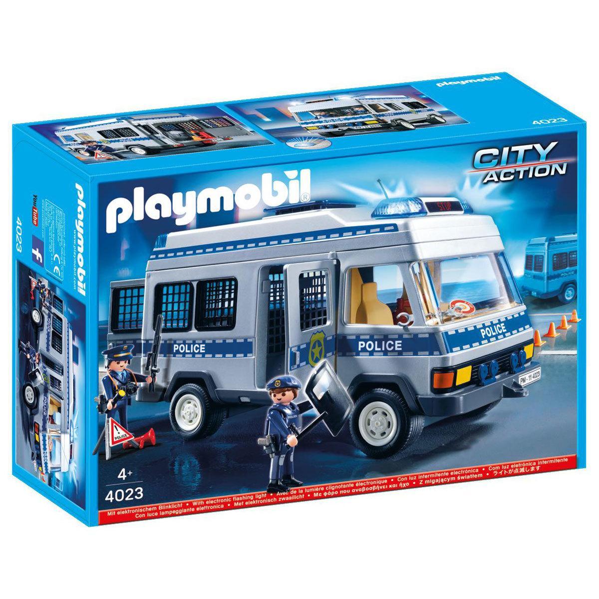 Playmobil 4023 Полиция Автозак с мигалкой Полицейский фургон Police Van with Police Officers
