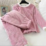 Пижама женская махровая зимняя штаны и кофта голубой, розовый, серый, шоколад 42-44,44-46, фото 2