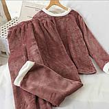 Пижама женская махровая зимняя штаны и кофта голубой, розовый, серый, шоколад 42-44,44-46, фото 3