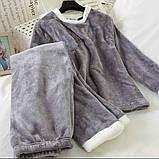 Пижама женская махровая зимняя штаны и кофта голубой, розовый, серый, шоколад 42-44,44-46, фото 4