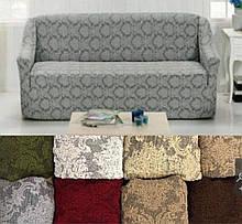 Натяжные универсальные готовые чехлы накидки на трехместные диваны без оборки  Серый жаккардовый