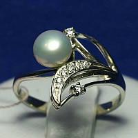 Серебряное кольцо с жемчужиной кс 843