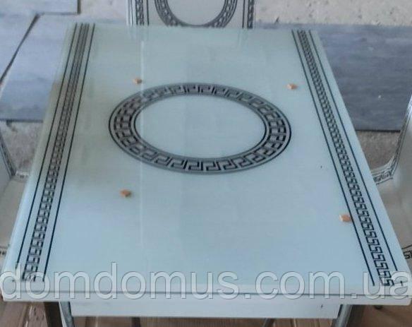 """Стол """"Версаче"""" белый  (стол ДСП, каленное стекло) Mobilgen, Турция"""