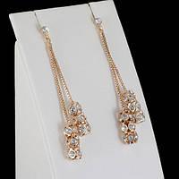 Блистательные серьги с кристаллами Swarovski, покрытые золотом 0609