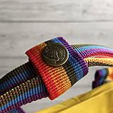 Женский рюкзак сумка канкен Fjallraven Kanken classic желтый с радужными ручками 16 литров, фото 8
