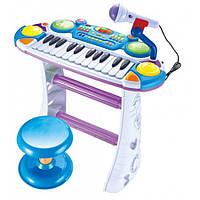 Игрушечное пианино Музыкант, на подставке, стул, микрофон, синий,на бат-ке, в кор-ке, 46-44-12 см