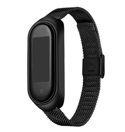 Металлический браслет для фитнес трекера Xiaomi mi band 4 / 3 тип №2 Цвет Чёрный