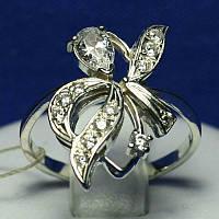 Кольцо из родированного серебра с фианитом кс 971, фото 1