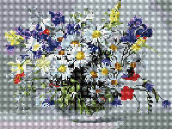 Алмазна вишивка (мозаїка) 30x40 см Ваза польових квітів Rainbow Art, фото 2