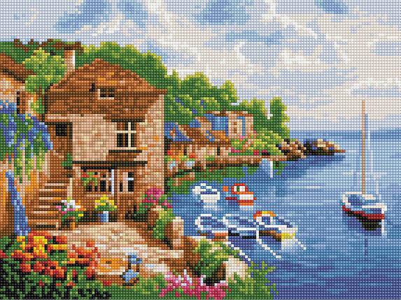Алмазная вышивка (мозаика) 30x40 см Прибрежный городок Rainbow Art, фото 2