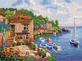 Алмазная вышивка (мозаика) 30x40 см Прибрежный городок Rainbow Art