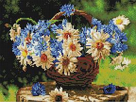 Алмазная вышивка (мозаика) 30x40 см Ромашки и васильки Rainbow Art
