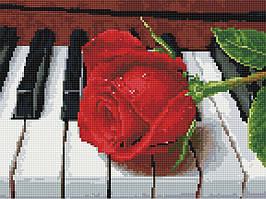 Алмазная вышивка (мозаика) 30x40 см Роза на рояле Rainbow Art