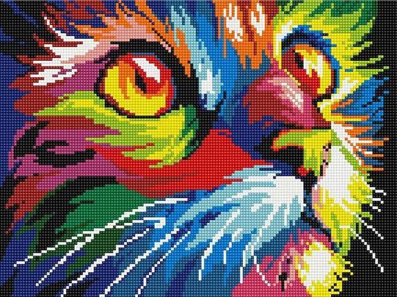 Алмазна вишивка (мозаїка) 30x40 см Кольоровий кіт Rainbow Art, фото 2