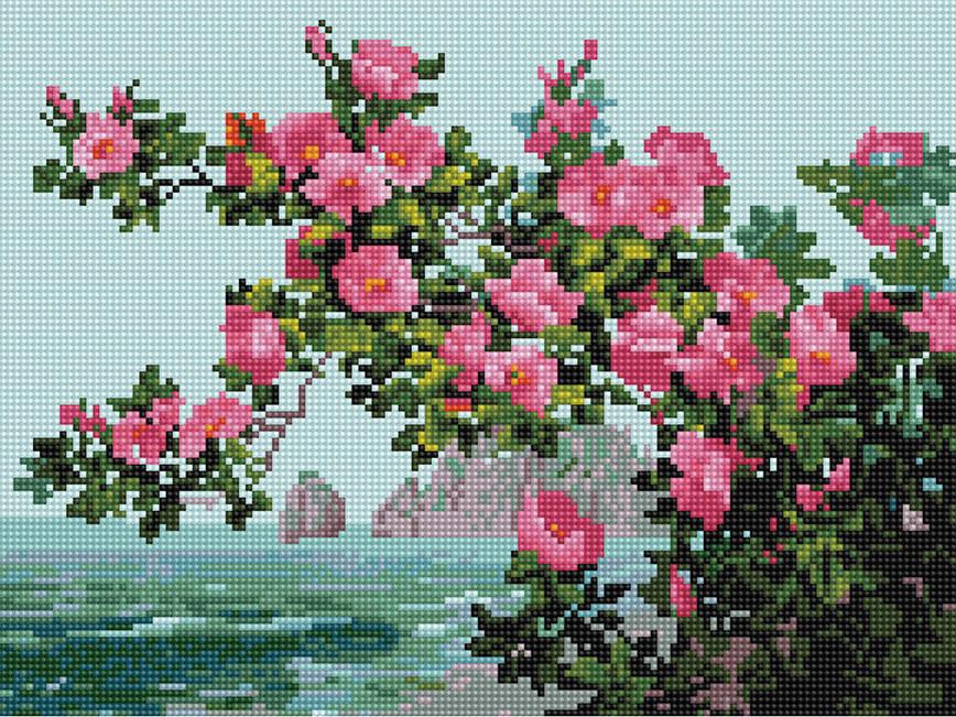 Алмазна вишивка (мозаїка) 30x40 см Квіти на тлі моря Rainbow Art
