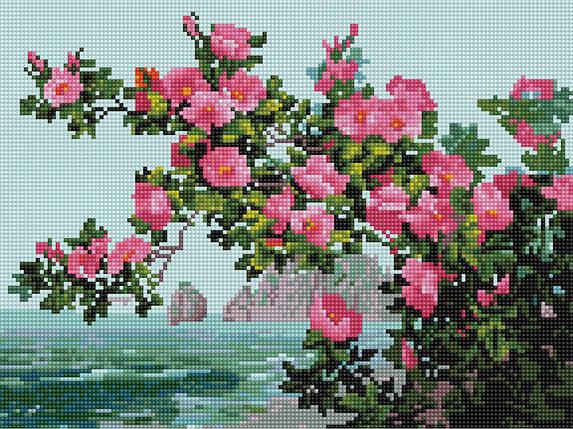 Алмазна вишивка (мозаїка) 30x40 см Квіти на тлі моря Rainbow Art, фото 2