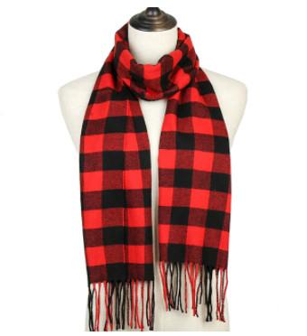 Модный женский кашемировый шарф в красную клетку