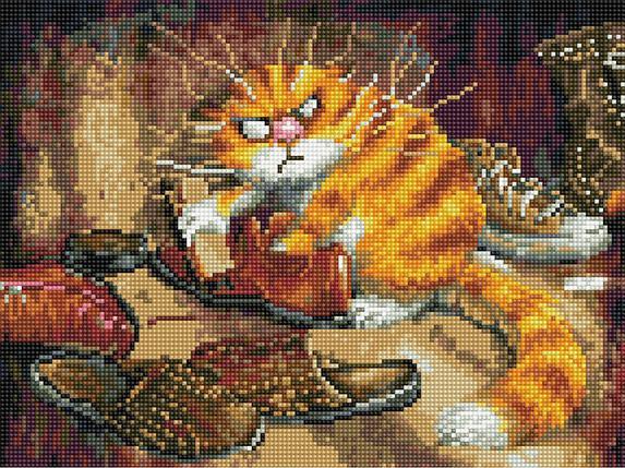 Алмазная вышивка (мозаика) 30x40 см Недовольный кот Rainbow Art, фото 2