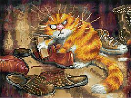 Алмазна вишивка (мозаїка) 30x40 см Незадоволений кіт Rainbow Art