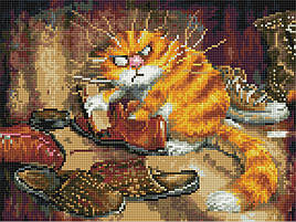 Алмазная вышивка (мозаика) 30x40 см Недовольный кот Rainbow Art