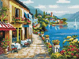 Алмазная вышивка (мозаика) 30x40 см Прибрежное кафе Rainbow Art