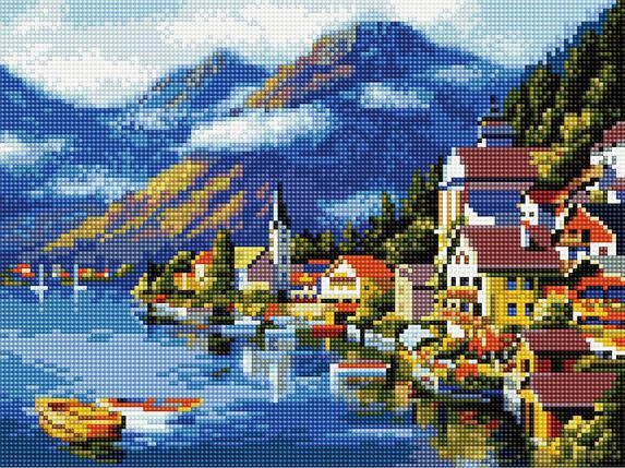 Алмазна вишивка (мозаїка) 30x40 см Мальовнича Австрія Rainbow Art, фото 2