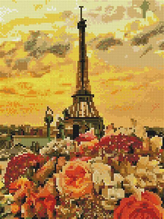 Алмазная вышивка (мозаика) 30x40 см Закат в Париже Rainbow Art