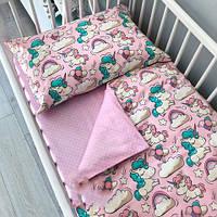 Детский КОМПЛЕКТ ПОСТЕЛЬНОГО БЕЛЬЯ в кроватку. Ткань 100% Хлопок. Единороги