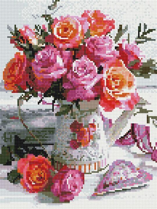 Алмазная вышивка (мозаика) 30x40 см Чайные розы Rainbow Art