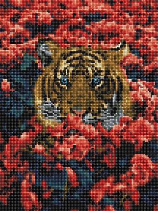 Алмазная вышивка (мозаика) 30x40 см Тигр в цветах Rainbow Art, фото 2