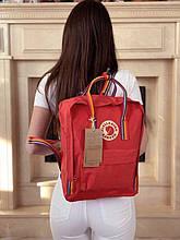 Рюкзак сумка канкен красный радуга Fjallraven Kanken classic 16 с радужными ручками женский, для девочки