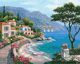 Алмазна картина-розмальовка Узбережжя 40*50 см. Rainbow Art