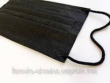Маски медицинские черные 4х слойные С ФИЛЬТРОМ, одноразовые маски для лица четырехслойные с зажимом для носа, фото 2