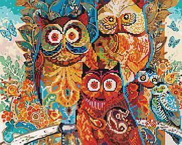 Алмазная картина раскраска Волшебные совы 40*50 см. Rainbow Art