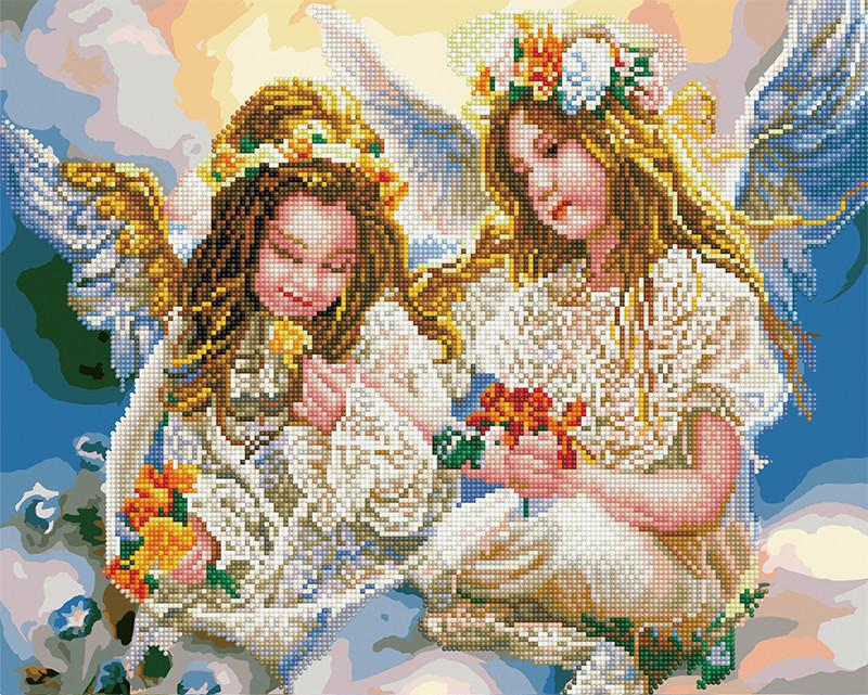 Алмазная картина раскраска Ангелочки 40*50 см. Rainbow Art