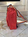 Женский рюкзак-сумка канкен красный радужный Fjallraven Kanken classic 16 с радужными ручками, фото 3