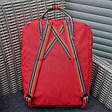 Женский рюкзак-сумка канкен красный радужный Fjallraven Kanken classic 16 с радужными ручками, фото 7