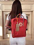 Женский рюкзак-сумка канкен красный радужный Fjallraven Kanken classic 16 с радужными ручками, фото 8