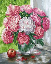 Алмазна картина-розмальовка Біло-рожеві півонії 40x50 см. Rainbow Art