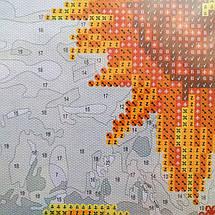 Алмазна картина-розмальовка Півонії в блакитний вазі 40x50 см. Rainbow Art, фото 3