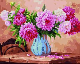 Алмазная картина раскраска Пионы в голубой вазе 40*50 см. Rainbow Art