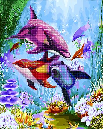 Алмазная картина раскраска Яркие дельфины 40*50 см. Rainbow Art, фото 2