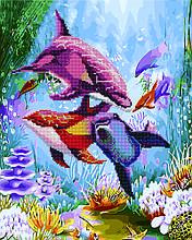 Алмазна картина-розмальовка Яскраві дельфіни 40x50 см. Rainbow Art