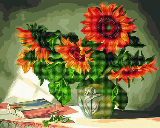 Алмазная картина раскраска Натюрморт с подсолнухами 40*50 см. Rainbow Art, фото 2